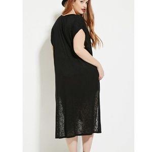 Black Soft Textured High-Low Tunic W// Slicts 2x
